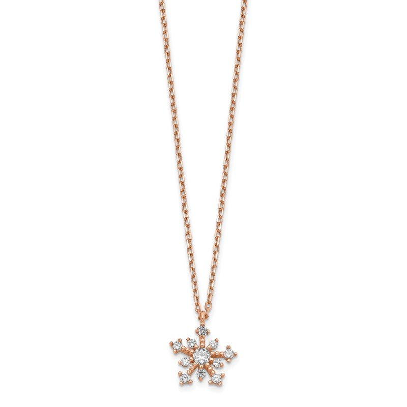 Quality Gold 14K Rose Gold CZ Snowflake w/ 1in ext. Necklace