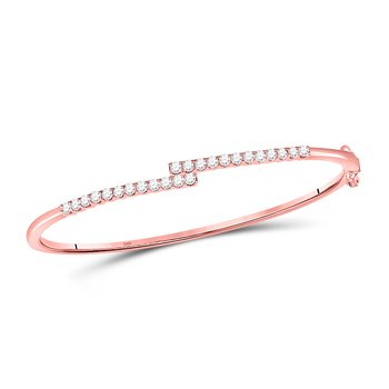 14kt Rose Gold Womens Round Diamond Bypass Bangle Bracelet 1.00 Cttw