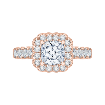 18K Rose Gold Cushion Cut Diamond Halo Engagement Ring (Semi-Mount)