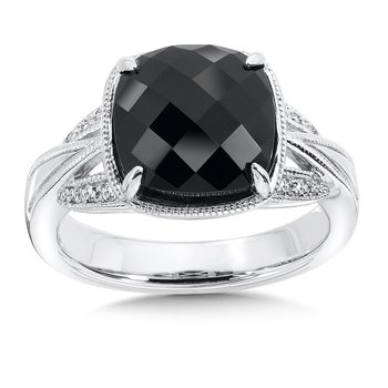 Sterling Silver Onyx White Diamond Ring
