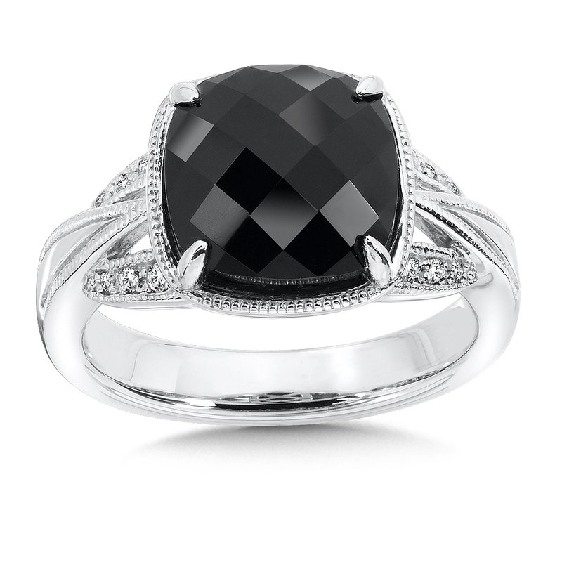 Colore SG Sterling Silver Onyx White Diamond Ring
