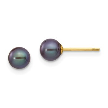 14k 5-6mm Black Round Freshwater Cultured Pearl Stud Post Earrings