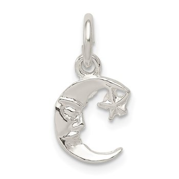 Sterling Silver Moon with Star Charm