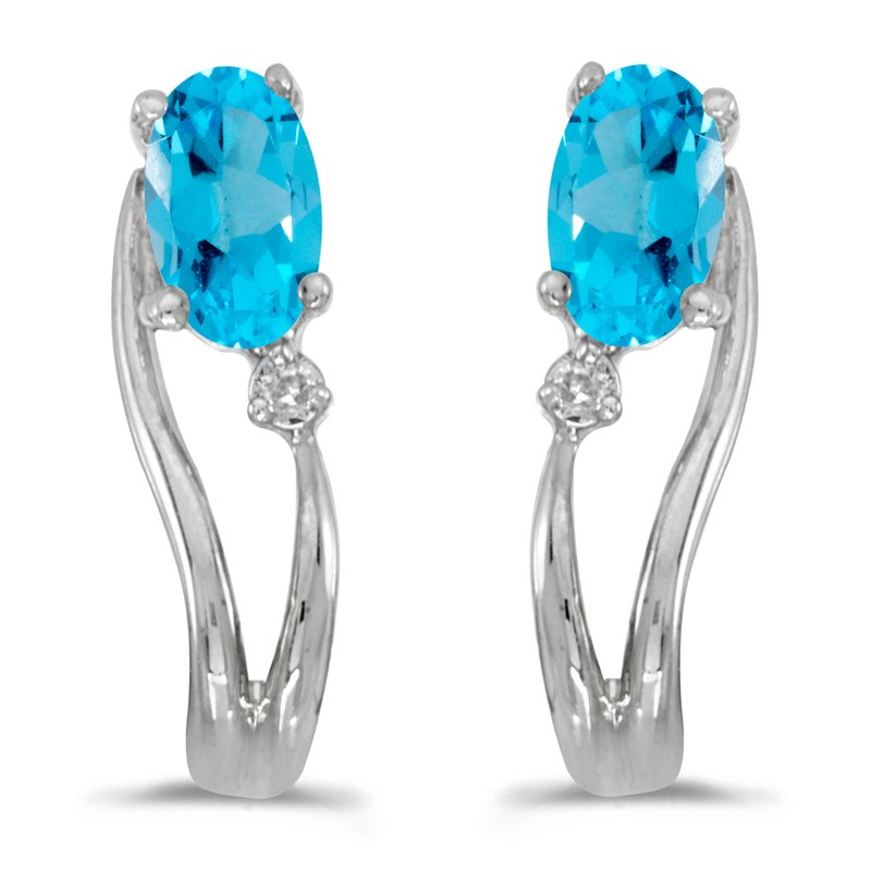 Color Merchants 14k White Gold Oval Blue Topaz And Diamond Wave Earrings
