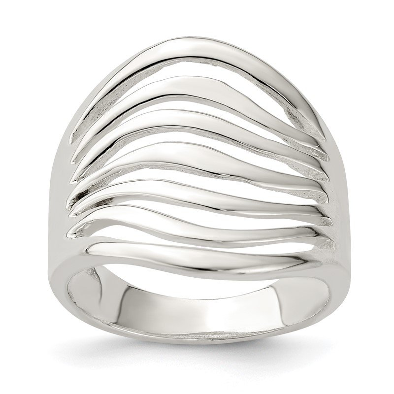 Quality Gold Sterling Silver Polished Wave Ring