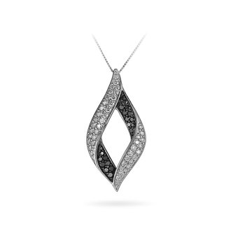 14K WG Whte and Black Diamond Fashion Leaf Pendant