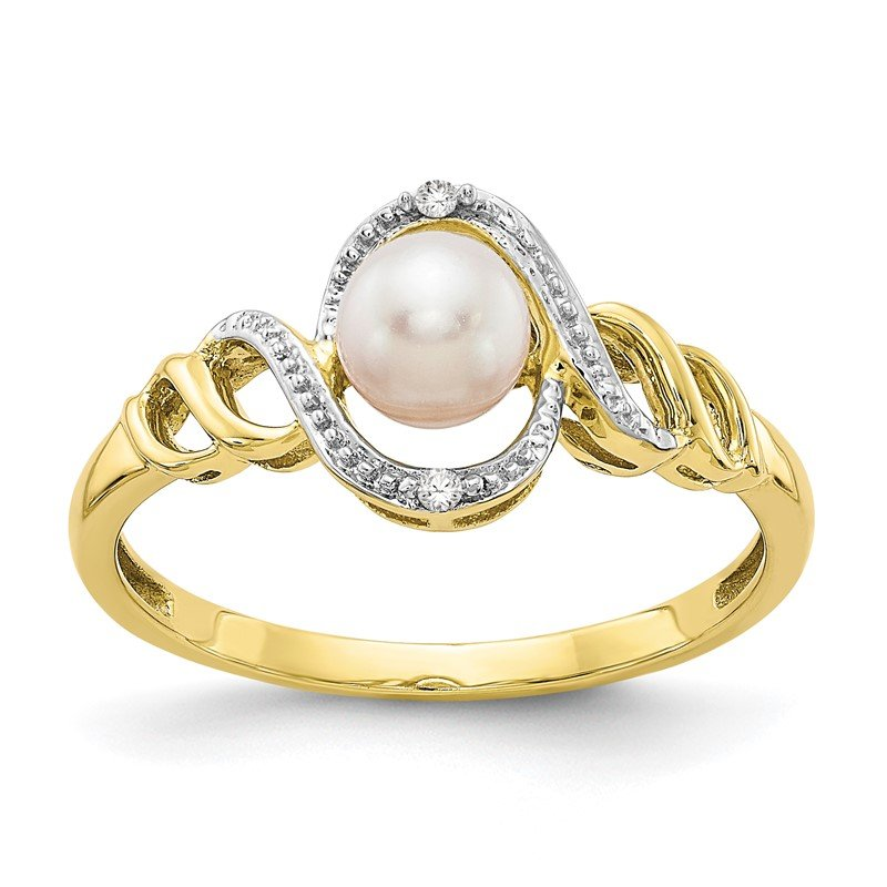 Quality Gold 10K FW Cultured Pearl and Diamond Ring