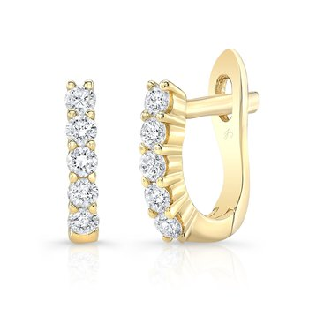 Yellow Gold Prong Set Mini Huggie Hoops