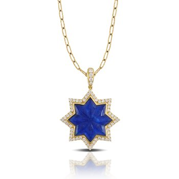 Royal Lapis Star Pendant 18KY