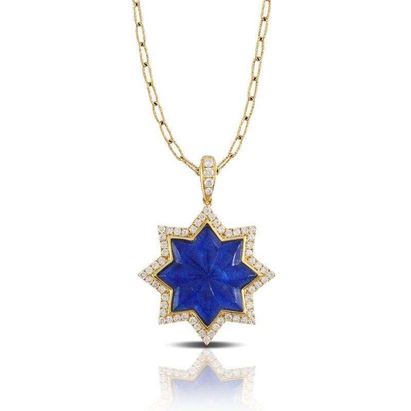 Doves Royal Lapis Star Pendant 18KY