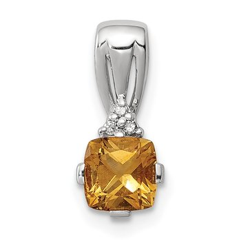 Sterling Silver Rhodium Plated Diamond & Citrine Square Pendant