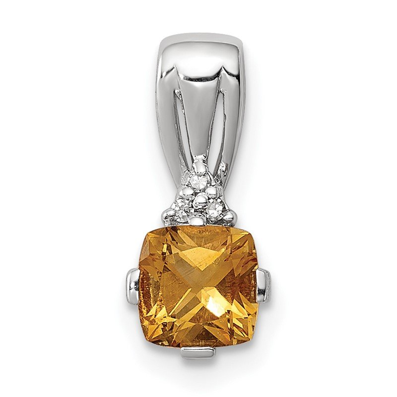 Quality Gold Sterling Silver Rhodium Plated Diamond & Citrine Square Pendant