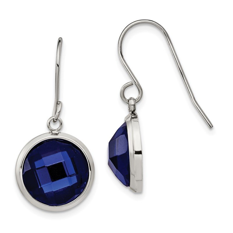 Chisel Stainless Steel Polished with Blue Glass Dangle Shepherd Hook Earrings