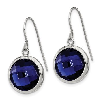 Stainless Steel Polished with Blue Glass Dangle Shepherd Hook Earrings