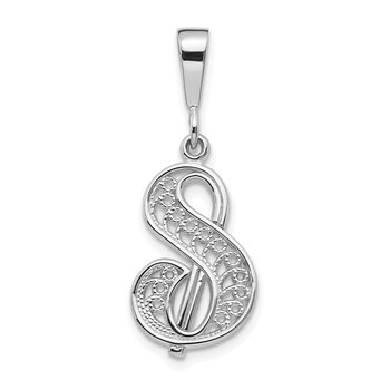 14KW White Gold Solid Polished Script Filigree Letter S Initial Pendant