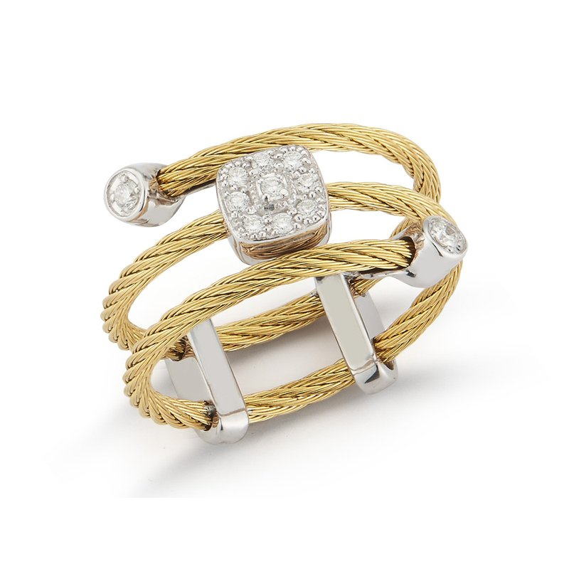 ALOR Yellow Cable Flex Ring with Square Diamond Stations set in 18kt White Gold