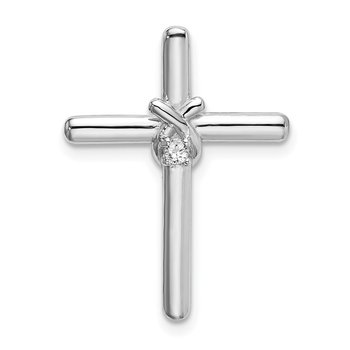 Sterling Silver Rhodium-plated Polished w/ CZ Cross Chain Slide
