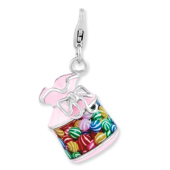 Sterling Silver Enameled 3-D Candy Jar w/Lobster Clasp Charm