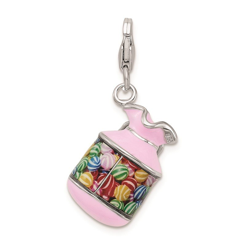 Quality Gold Sterling Silver Amore La Vita Rhodium-pl Enameled 3-D Candy Jar Charm