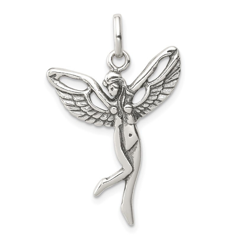 Quality Gold Sterling Silver Antiqued Fairy Pendant