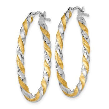 14k Yellow Gold & White Rhodium Twisted Hoop Earrings