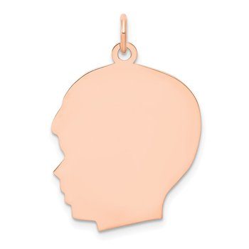 14k Rose Plain Large.013 Gauge Facing Left Engraveable Boy Head Charm