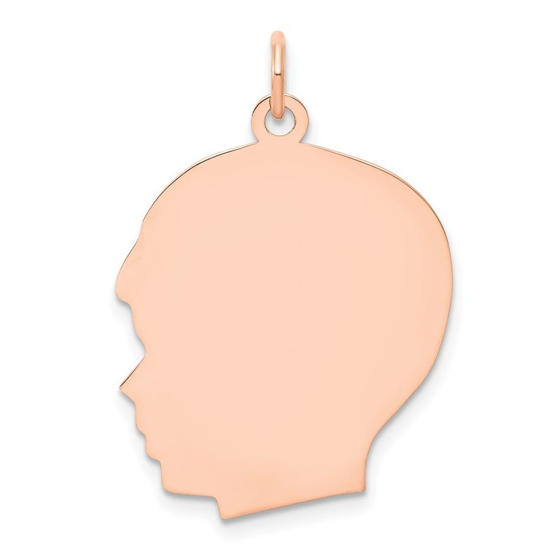 Quality Gold 14k Rose Plain Large.013 Gauge Facing Left Engraveable Boy Head Charm