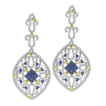 Sterling Silver and 14K Yellow Gold and Blue Sapphire drop Earrings
