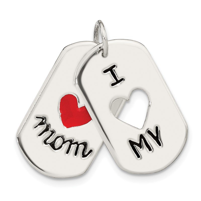 Quality Gold Sterling Silver I Love My Mom Moveable Pendant