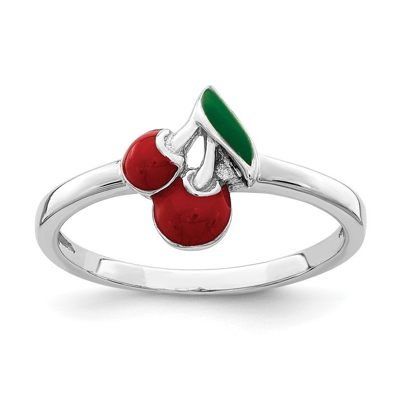 Quality Gold Sterling Silver Rhodium-plated Childs Enameled Cherry Ring