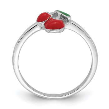 Sterling Silver Rhodium-plated Childs Enameled Cherry Ring