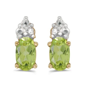 10k Yellow Gold Oval Peridot Earrings