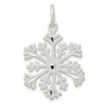 Sterling Silver D/C Satin Snowflake Charm