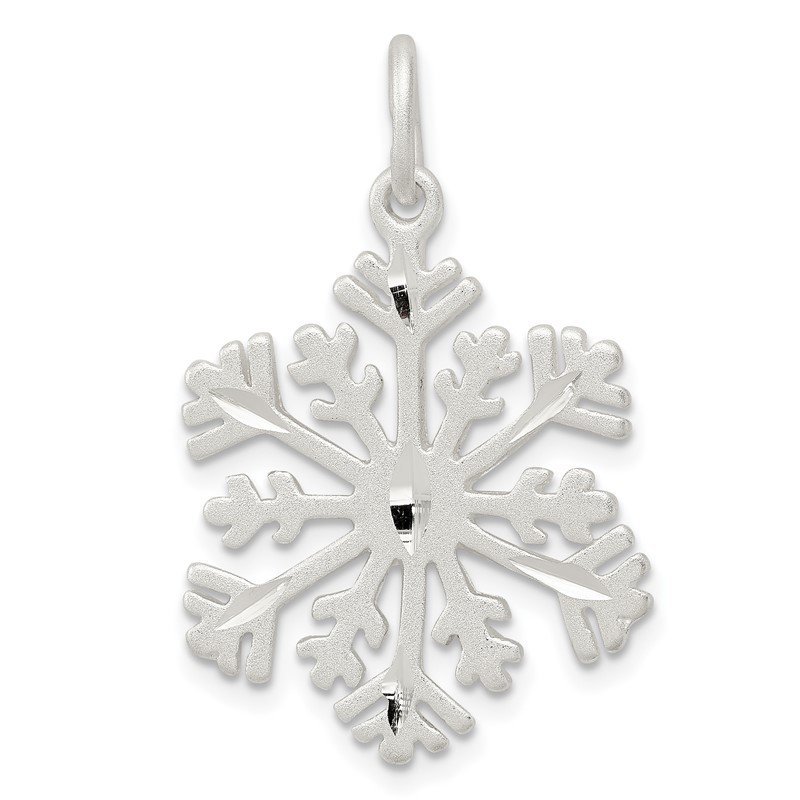 Arizona Diamond Center Collection Sterling Silver D/C Satin Snowflake Charm