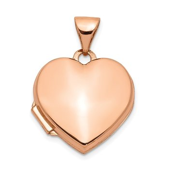 14k Rose Gold 15mm Plain Heart Locket