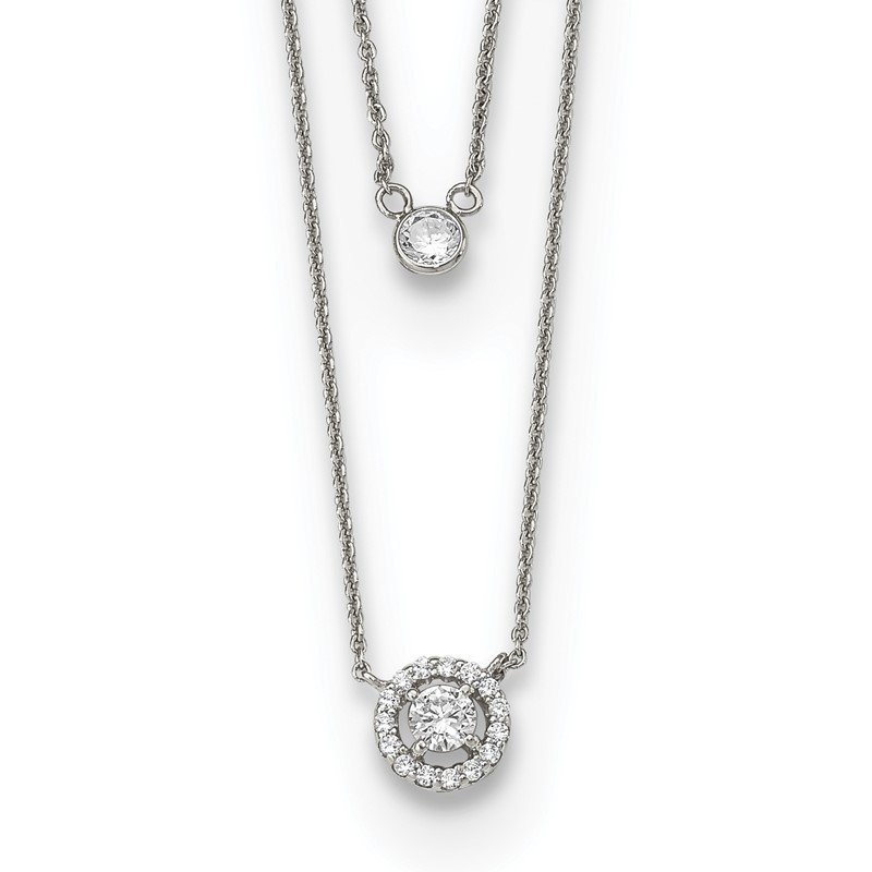 Quality Gold Sterling Silver CZ 2-Strand w/1.75in ext. Necklace