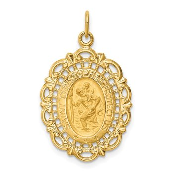 14k Solid Polished/Satin Medium Fancy Pierced Oval St. Christopher Medal