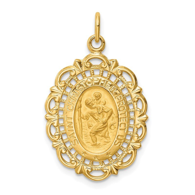 Quality Gold 14k Solid Polished/Satin Medium Fancy Pierced Oval St. Christopher Medal