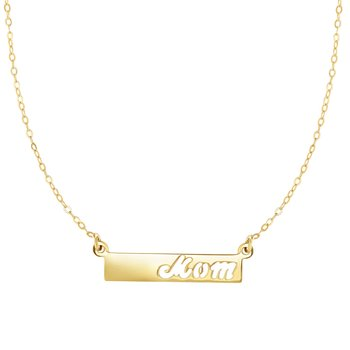 14K Gold Mom Bar Necklace