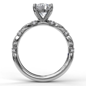 Classic Diamond Engagement Ring with Detailed Milgrain Band