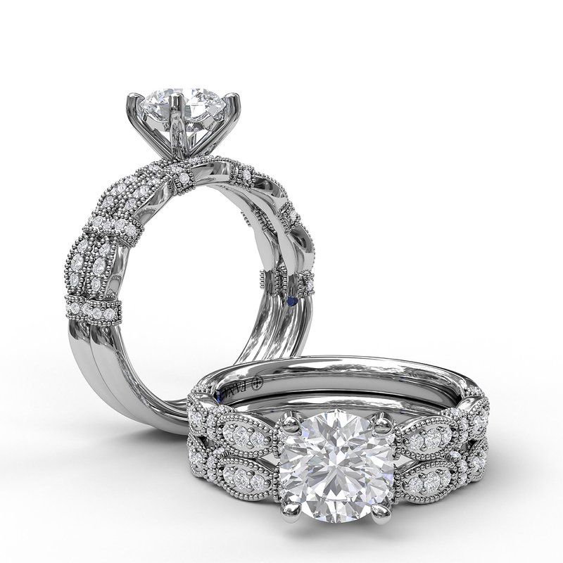 Fana Classic Diamond Engagement Ring with Detailed Milgrain Band