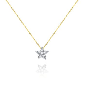 14k Gold and Diamond Mini Star Necklace