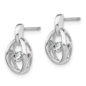 Sterling Silver Rhodium CZ Birthstone Vibrant Earrings