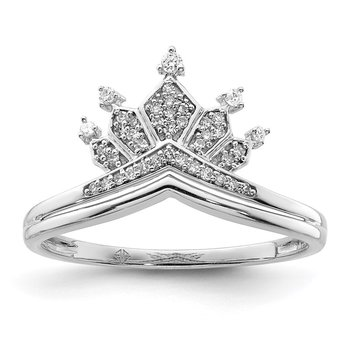 Sterling Silver Rhodium Plated Diamond Crown Ring