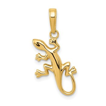 14k Polished Gecko Pendant