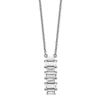 Cheryl M Sterling Silver Emerald-cut CZ Necklace