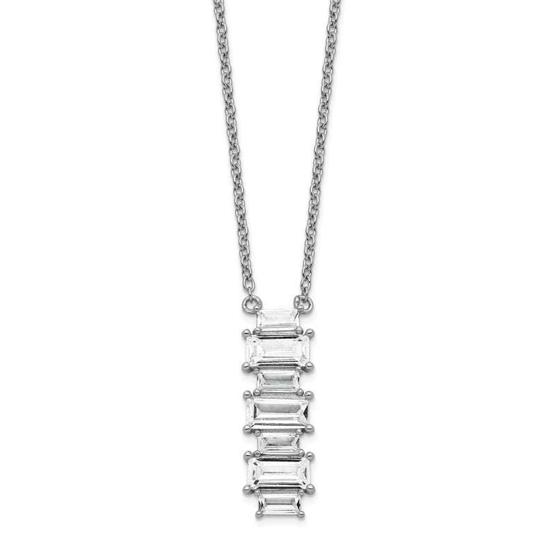 Cheryl M Cheryl M Sterling Silver Rhodium Plated Emerald-cut CZ 18in Necklace