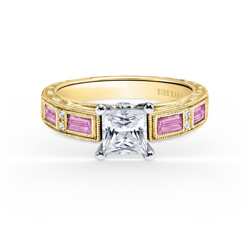 Pink Sapphire Deco Diamond Engagement Ring