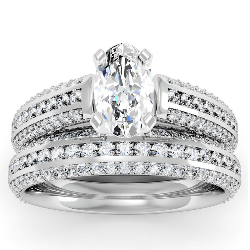 Three Row Pave & Channel Diamond Engagement Ring with Matching Wedding Band