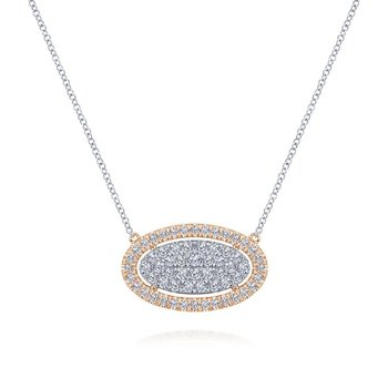 14k White-Rose Gold Pave Diamond Oval Pendant Fashion Necklace